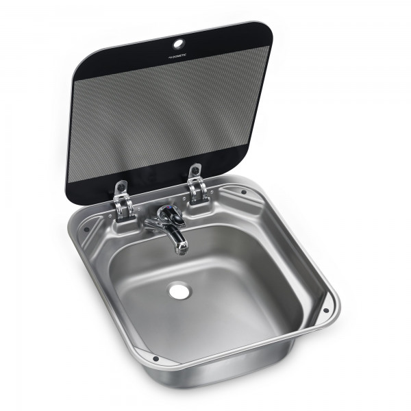 Dometic SNG 4244 stainless steel sink, 420 x 440 mm, with safety glass lid