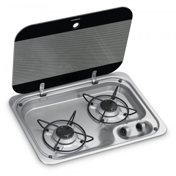 Dometic HBG 2335 2-burner gas hob, 460 x 335 mm, with glass lid