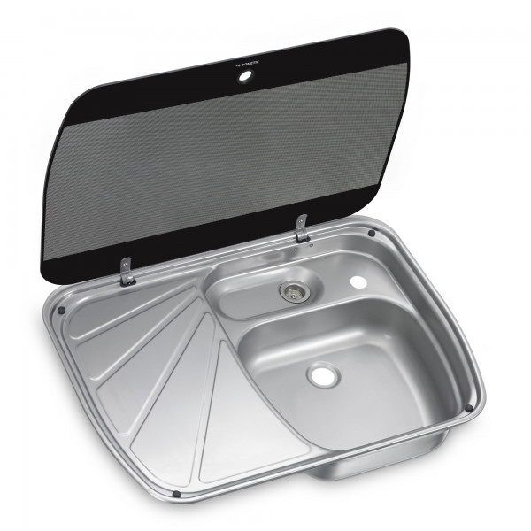 Dometic SNG 6044 stainless steel sink, 600 x 445 mm, with drainer & safety glass lid