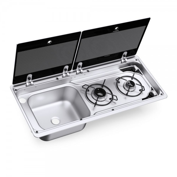 Dometic MO 9722L 2-burner gas hob & sink (left) combination with glass lid