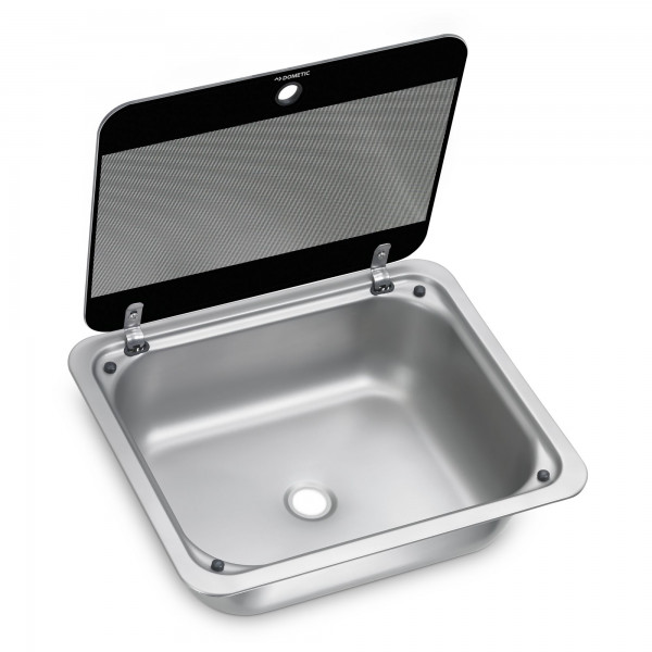 Dometic SNG 4133 stainless steel sink, 410 x 335 mm, with safety glass lid