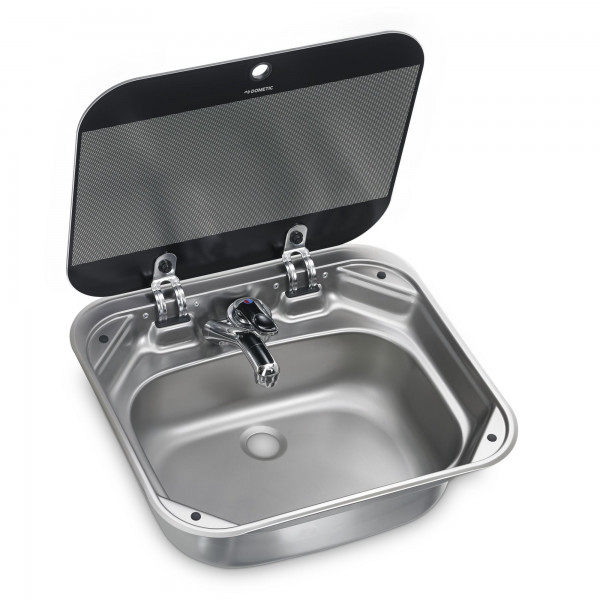 Dometic SNG 4237 stainless steel sink, 420 x 370 mm, with safety glass lid