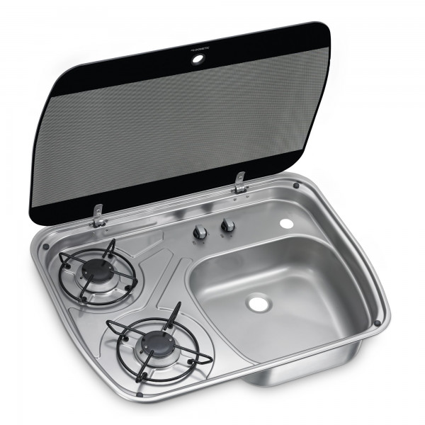 Dometic HSG 2445 2-burner gas hob & sink combination with glass lid