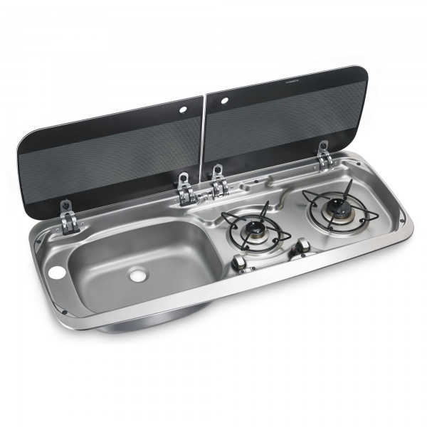 Dometic HSG 2370L 2-burner gas hob & sink (left) combination with glass lid